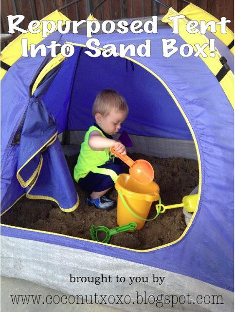 Repurposed Tent Sandbox