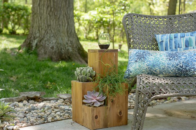 Side Table Atop a Small Garden