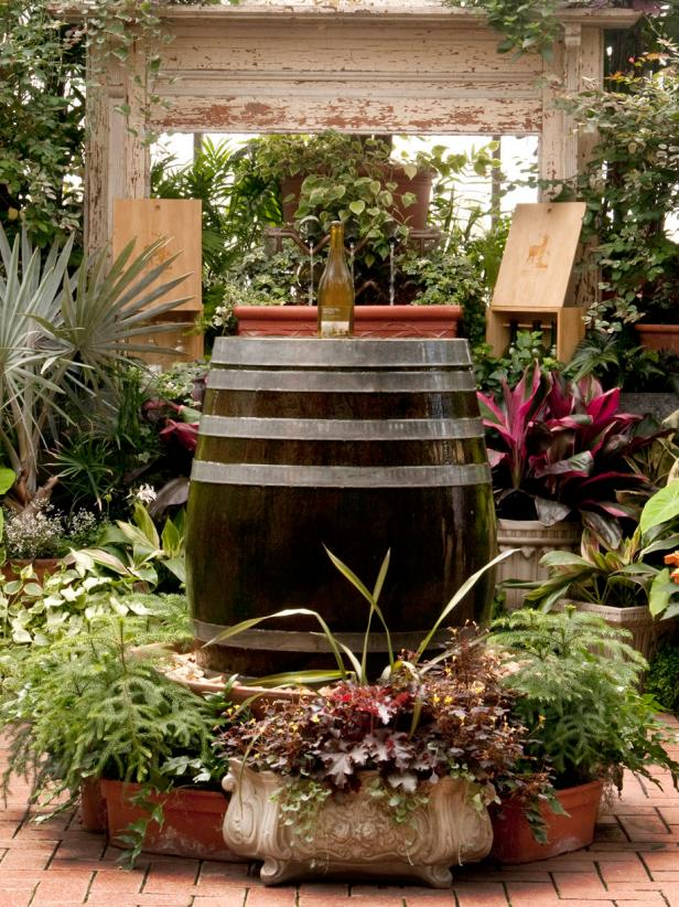 Wine Barrel and Bottle Fountain