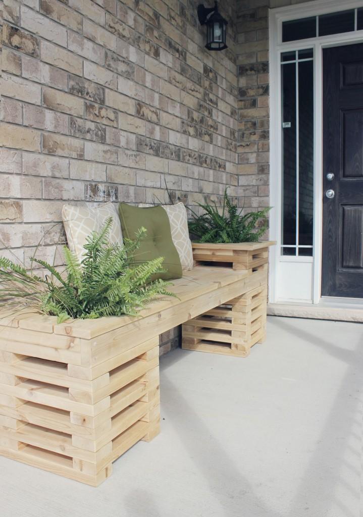 Cedar Plank Planter Bench