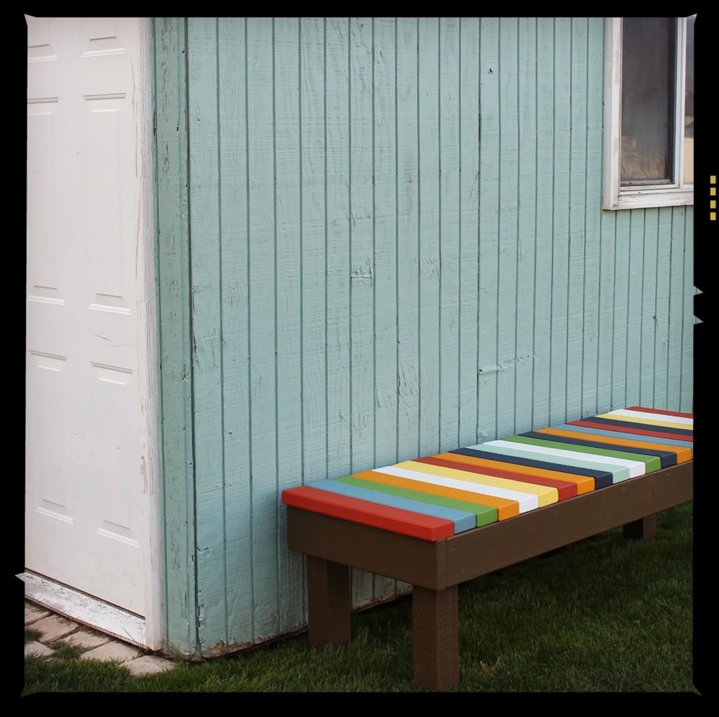 Colorful Slat Bench