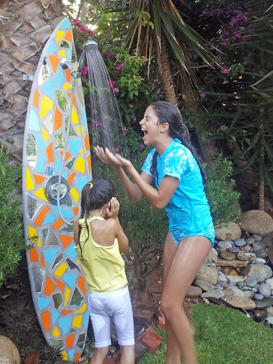 Reclaimed Surfboard Outdoor Shower