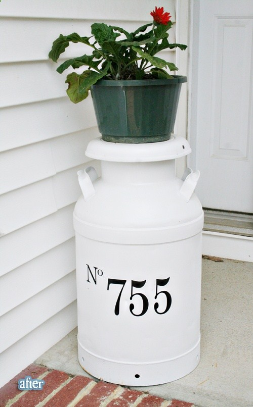 20 awe inspiring diy house number ideas displaying your for Repurposed milk cans