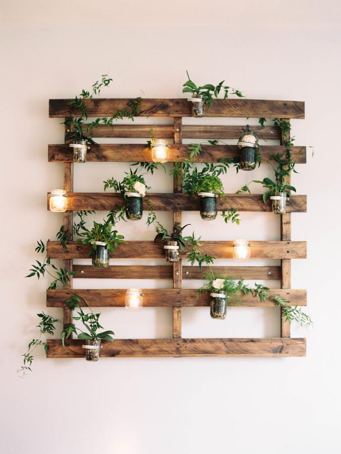 Wooden Slat Planter Display