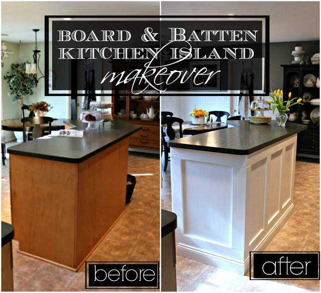 Board and Batten Kitchen Island Makeover