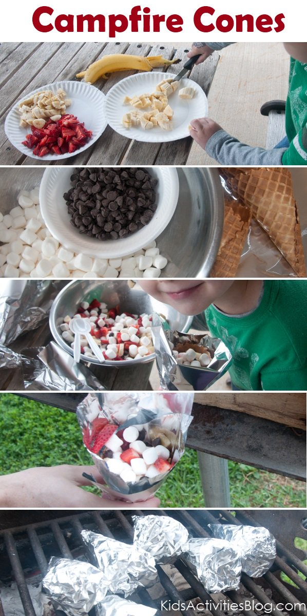 Camp Fire Food - Fruit and S'more Cones