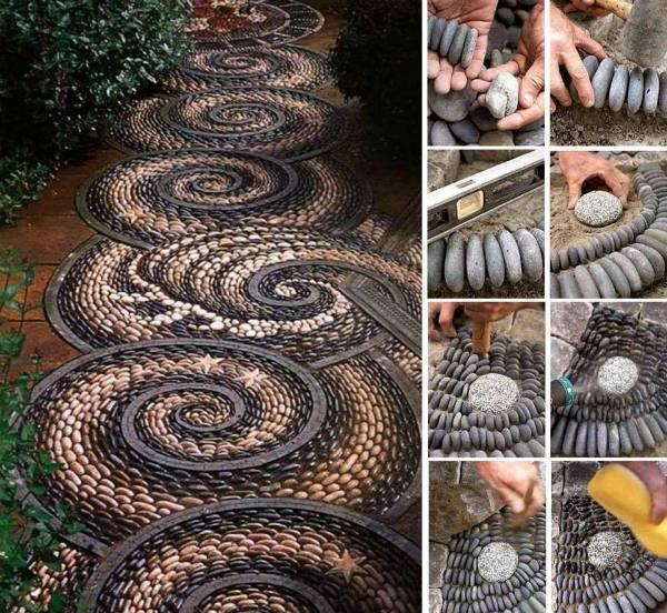 DIY Spiral Rock Mosaic Path