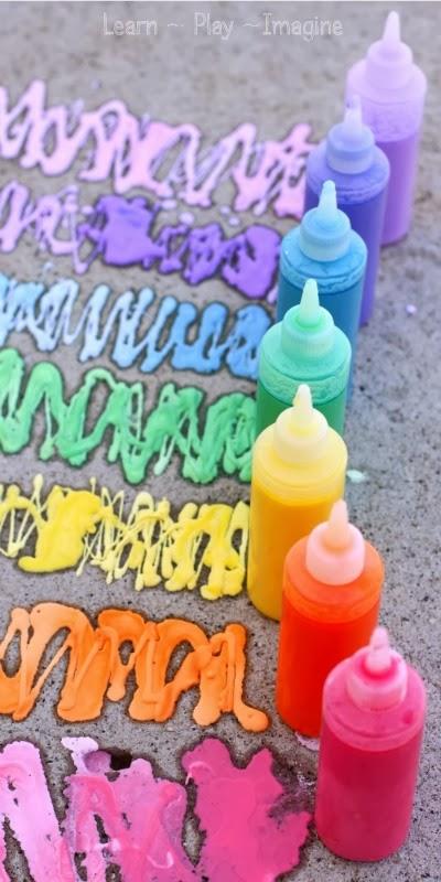 Erupting Rainbow Sidewalk Chalk Paint