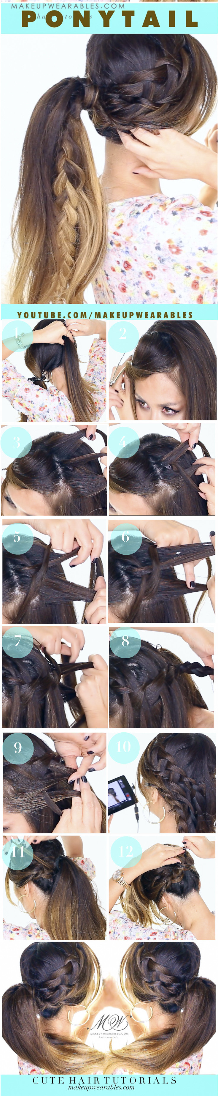 Fancy Waterfall Braid Ponytail