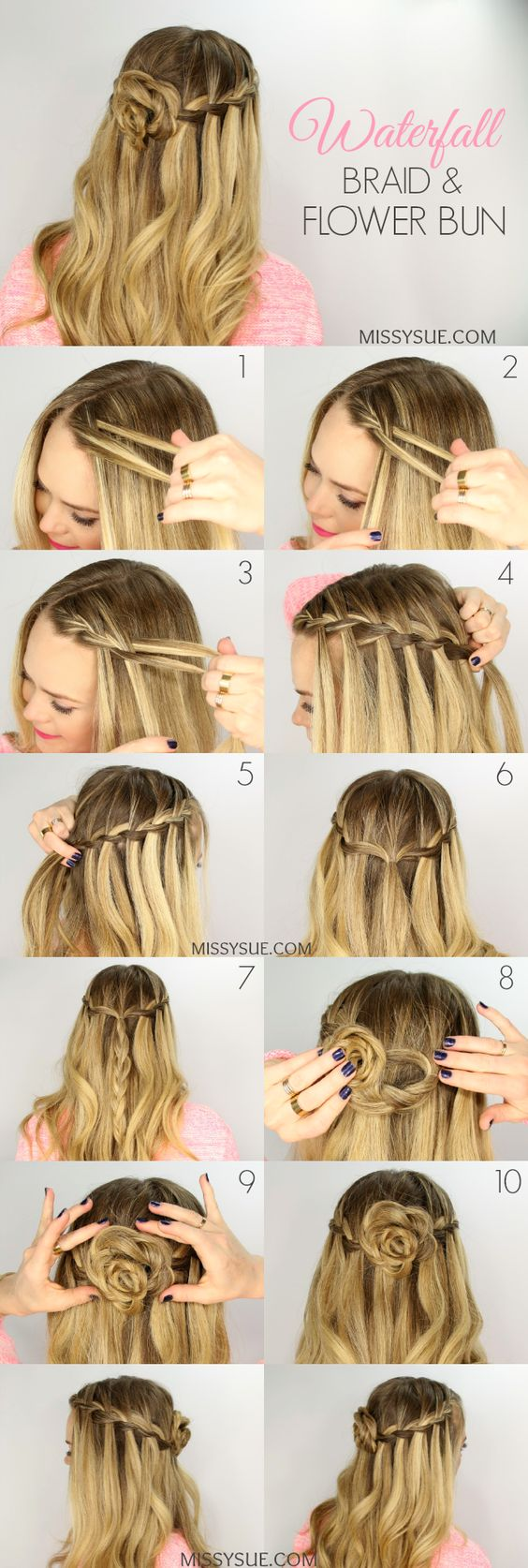 Flower Bun Waterfall Braid