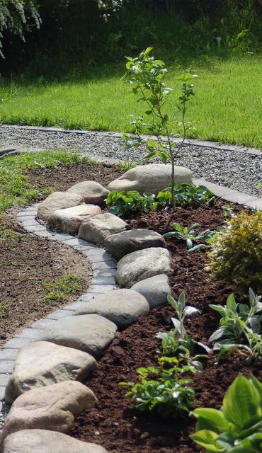 Rock and Brick Garden Edging