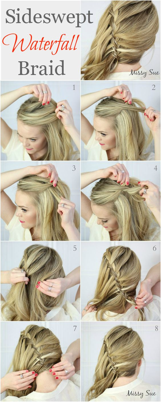Side-Swept Waterfall Braid