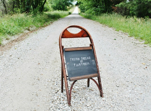 Sidewalk Chalkboard from Wooden Folding Chairs