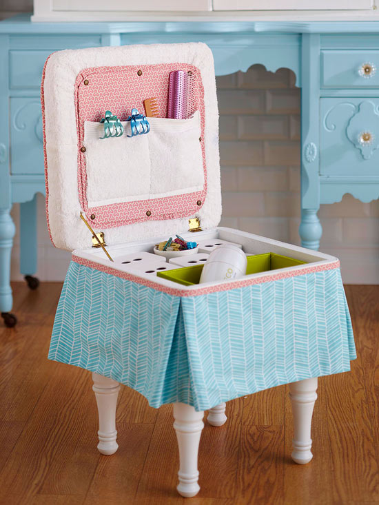 Vintage Stool to Bathroom Caddy