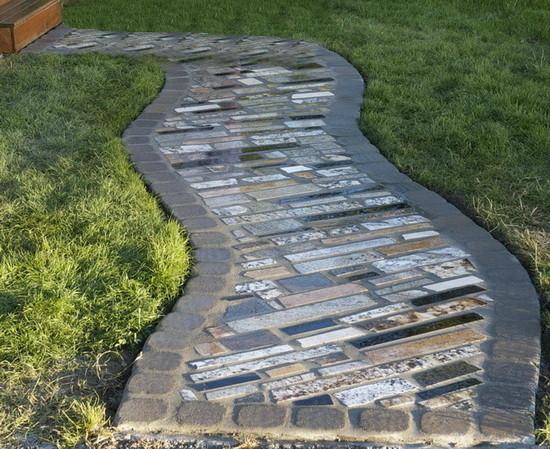 Walkway Using Recycled Counter Top Granite Scrap