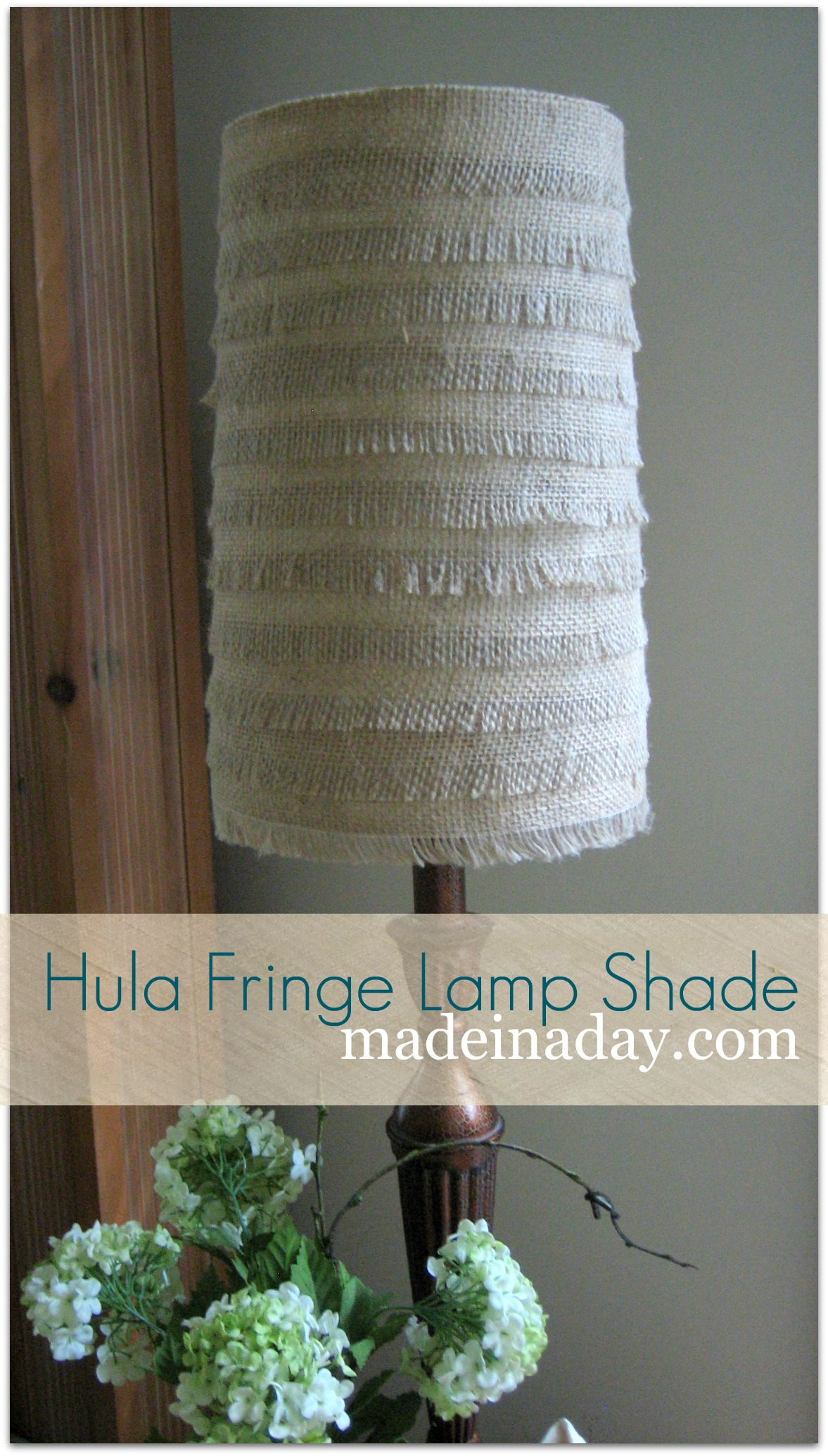 Hula Fringe Flower Burlap Lamp Shade