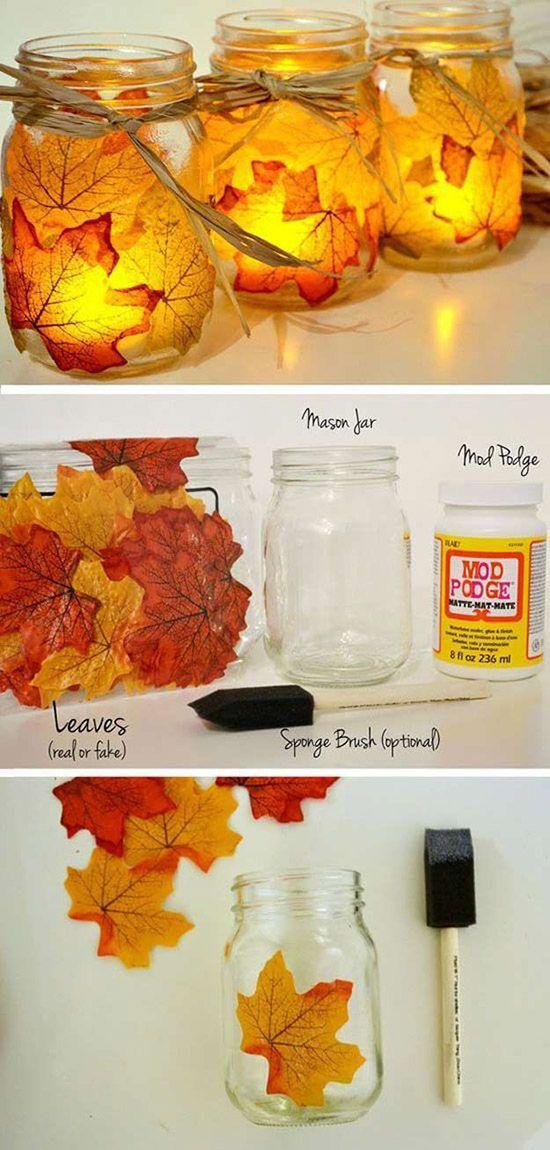 Mason Jar Lanterns with Leaves