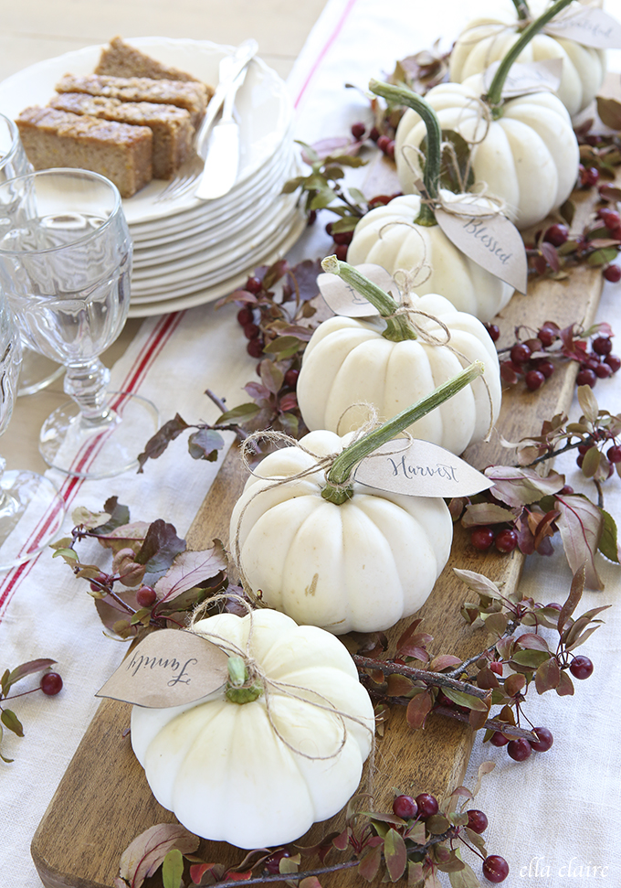 Pumpkin Fall Centerpiece with Printable Leaf Tags