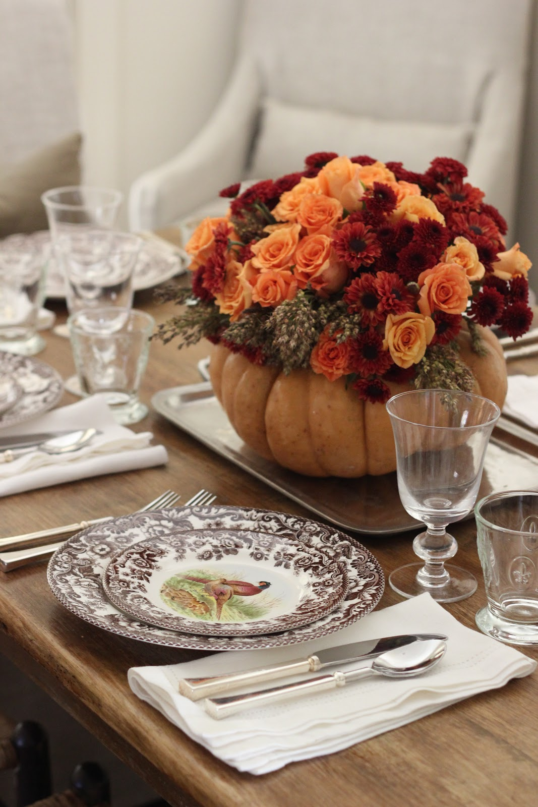 Roses, Mums and Broom Cob in a Pumpkin Vase
