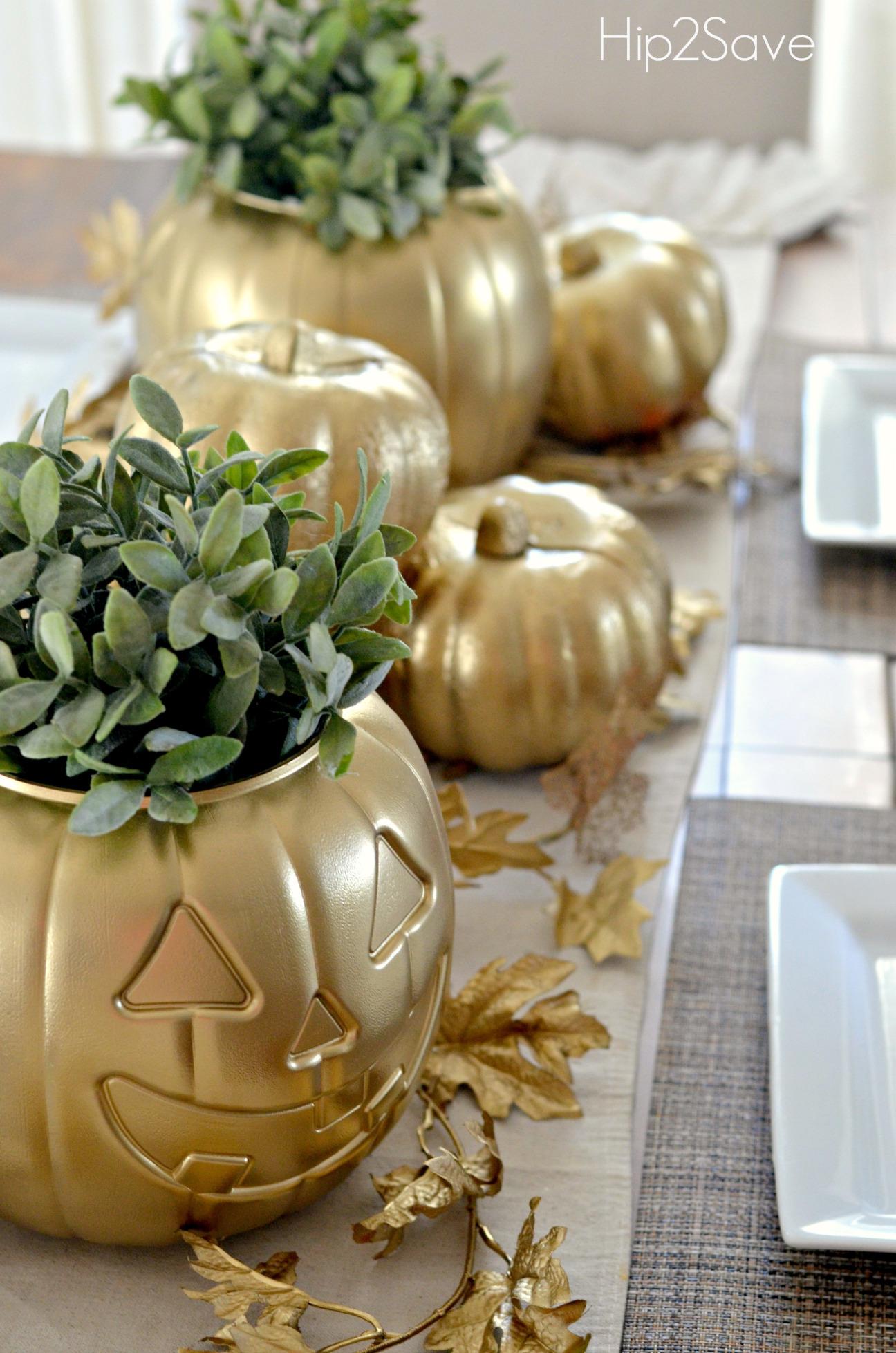 Spray Painted Pumpkin Fall Centerpieces
