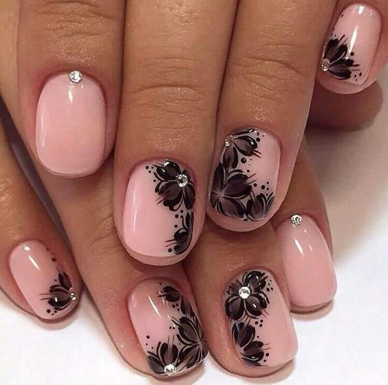Black Flowers on Pastel Pink Tips