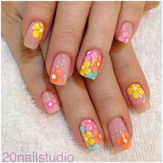 Colorful Flowers on Nude Nails