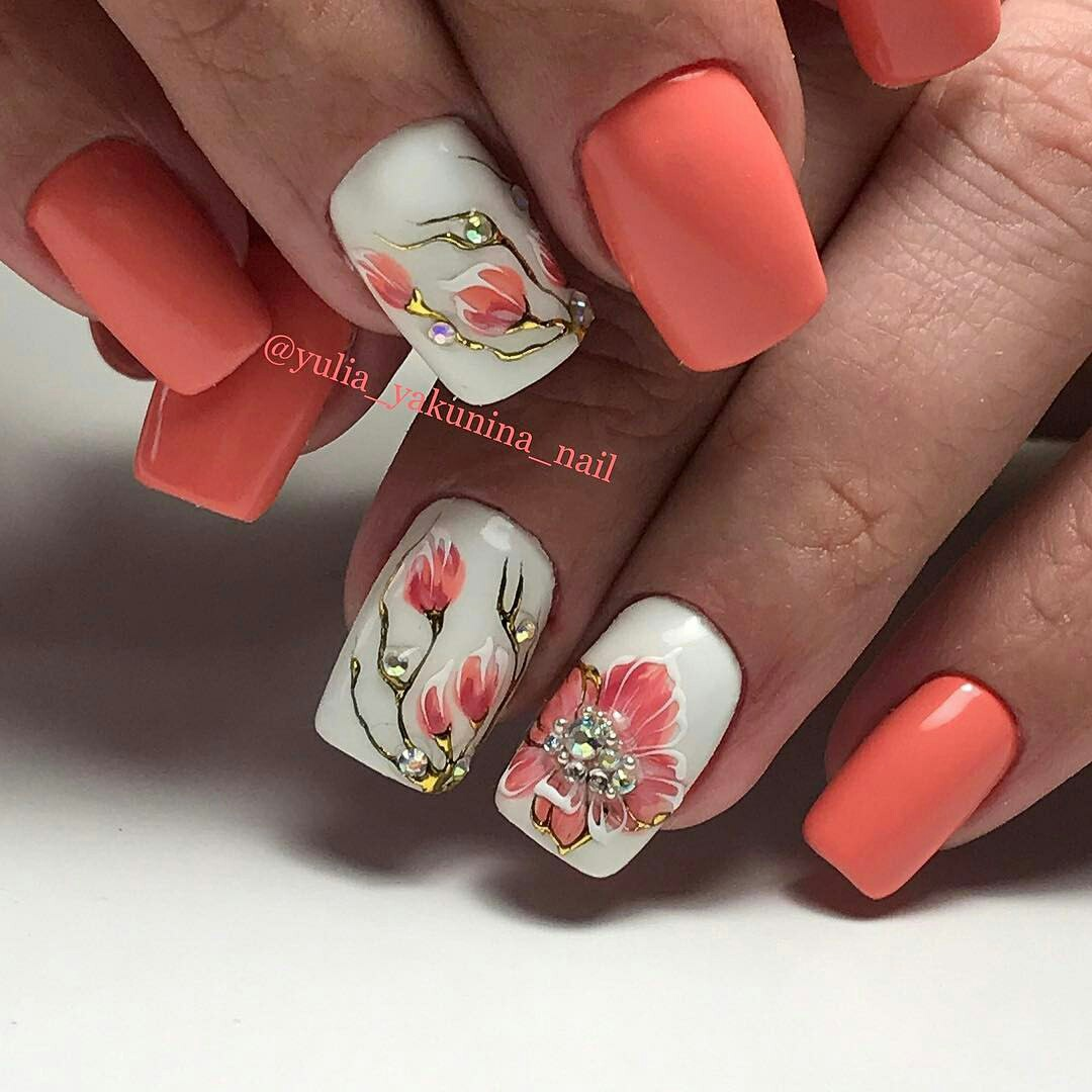 Luxurious Decorated Freehand Flower Nail Design