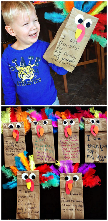 Paper Bag Turkey Puppets Thanksgiving Crafts