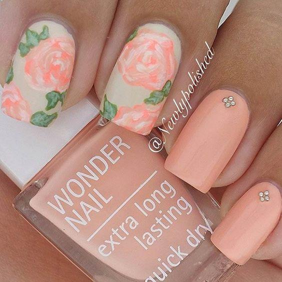 Peach Floral Nail Design
