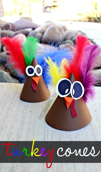 Turkey Cone Thanksgiving Crafts for Kids