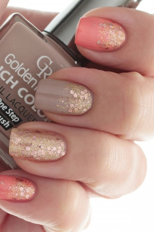 Fall Nail Design with Pastel and Glitters
