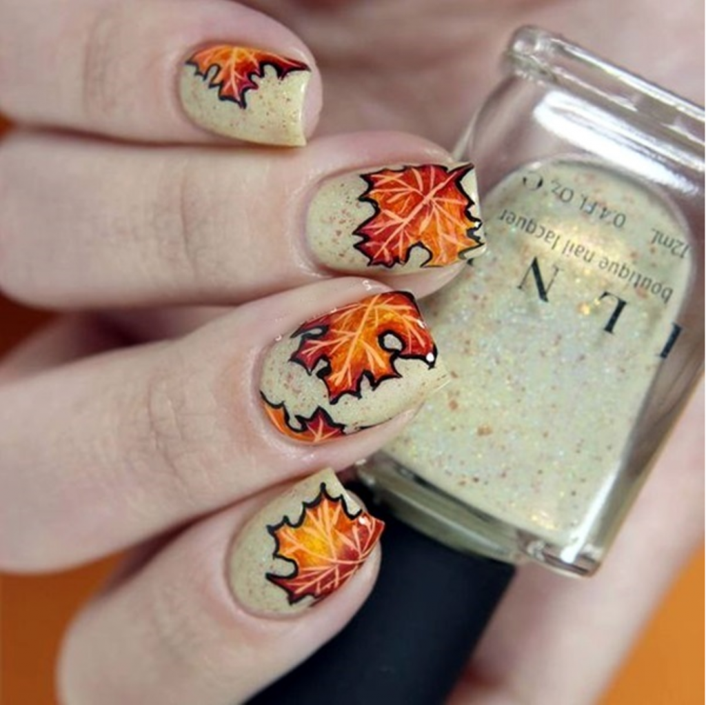 25 ultra pretty fall nail designs to let your fingertips celebrate falling leaves fall nail designs prinsesfo Image collections
