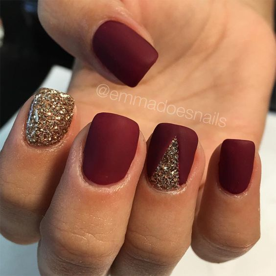Glitter Triangle Fall Nails