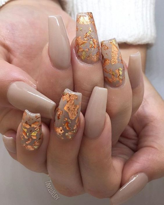Gold Leaf Coffin Fall Nail Art