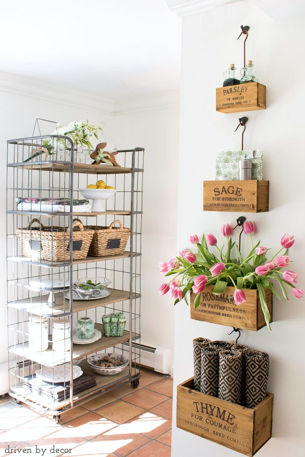 Herb Crates and Bakers Rack