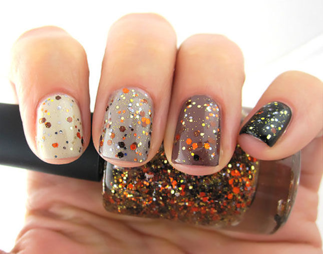 Ombre Glitter Fall Nails