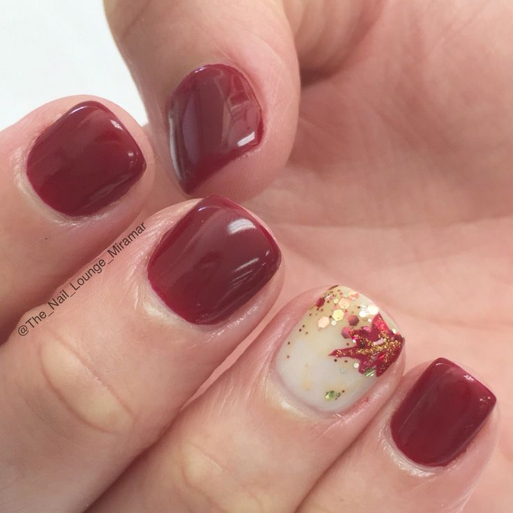 Plum Leaf Fall Nail Design - 25 Ultra-Pretty Fall Nail Designs To Let Your Fingertips Celebrate