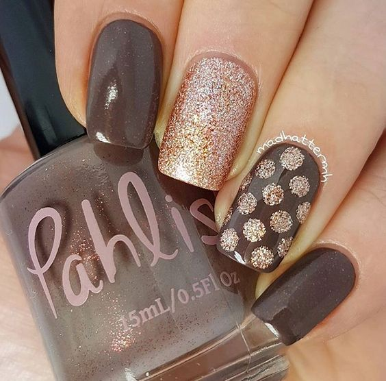 Polka Dot Fall Nails