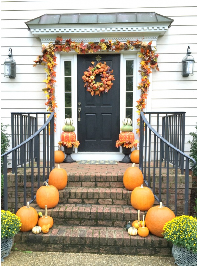 Pumpkin and Lead Autumn Porch Decorating