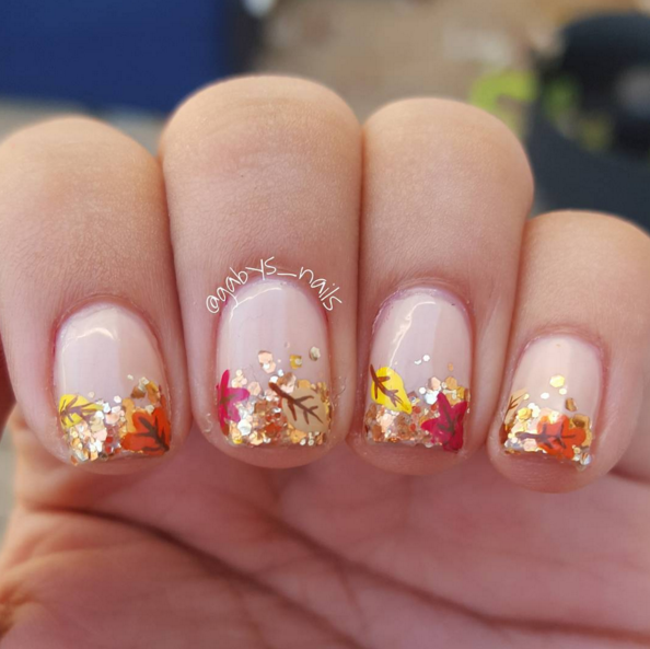 Vibrant Leaves Fall Nail Designs - 25 Ultra-Pretty Fall Nail Designs To Let Your Fingertips Celebrate
