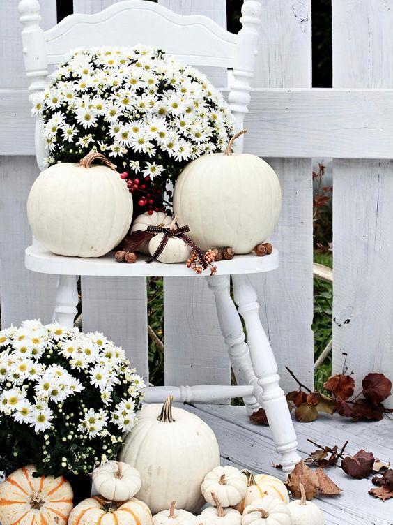 White Pumpkin Fall Outdoor Decor