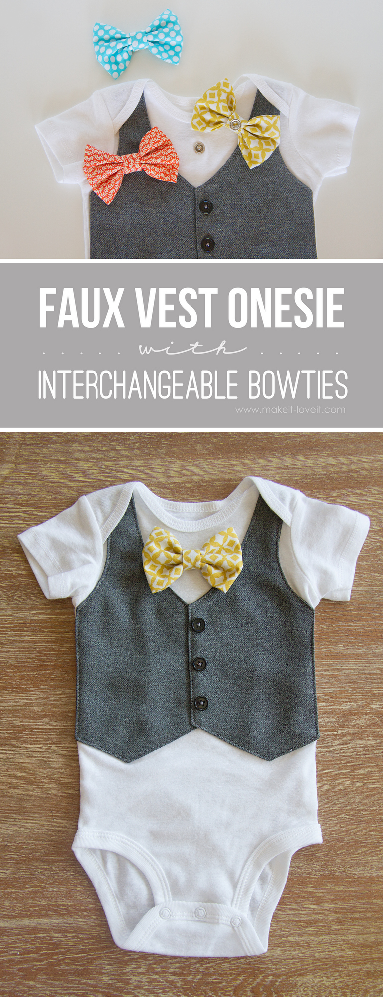 Faux Vest Onesie with Interchangeable Bowties