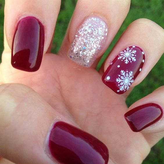 Holiday Snowflake Nail Art