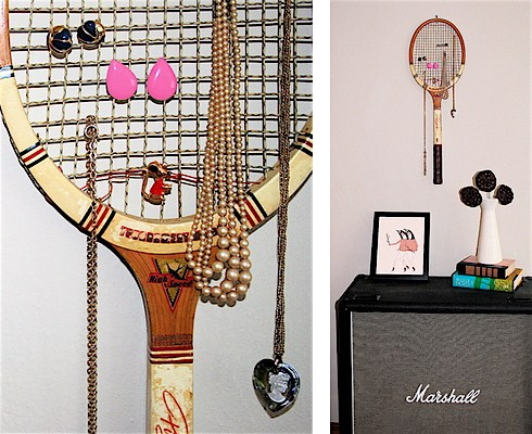Recycle a Tennis Racket into a Jewelry Display