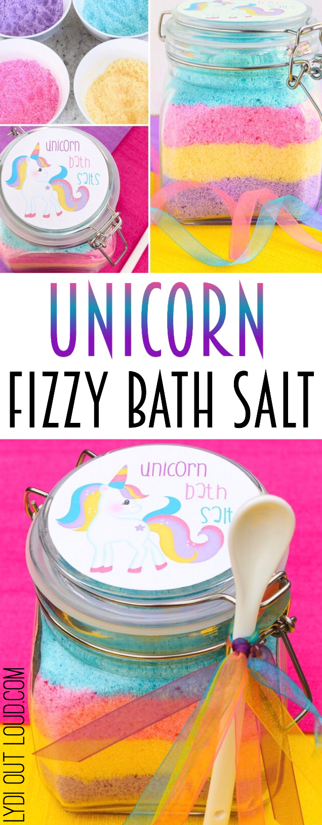 Unicorn Fizzy Bath Salts with Printable Label