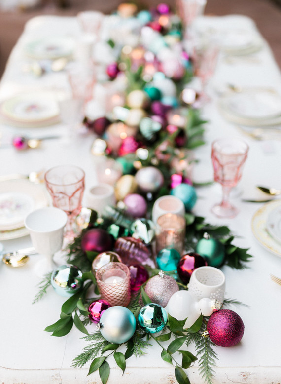 Colorful Ornaments Christmas Table Setting