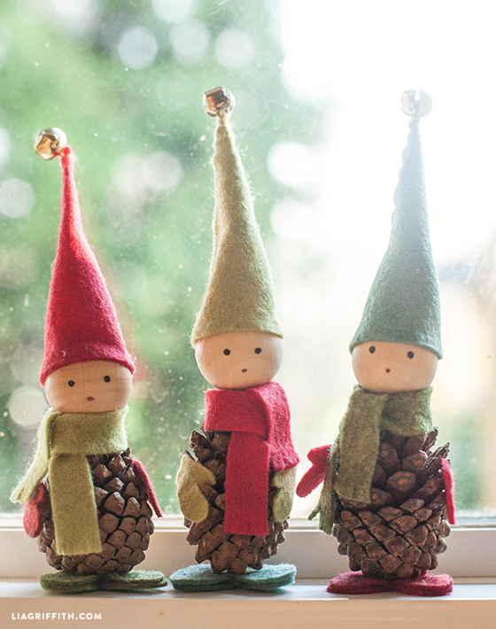 Felt and Pine Cone Elves