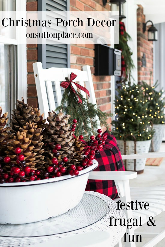 Festive and Frugal Christmas Porch Decor