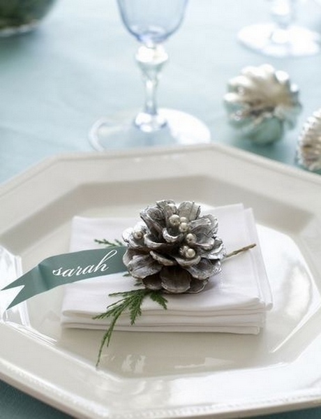 Gilded Pinecone Place Cards