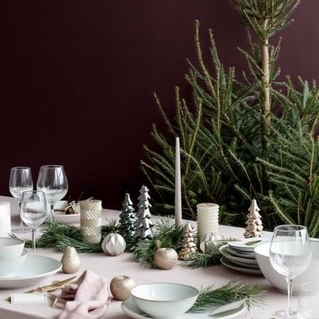 Moody Grey Christmas Table Setting